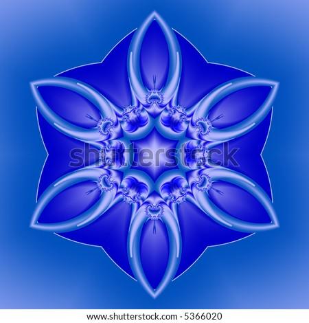 White fractal snowflake on blue background. - stock photo