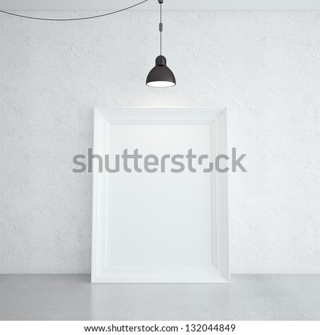 white frame in room and lamp - stock photo