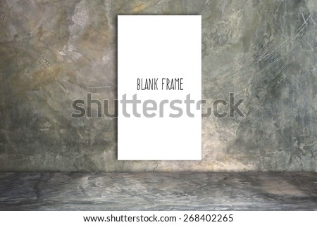 white frame on a concrete wall and floor - stock photo