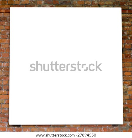 White frame on brick wall in museum - stock photo