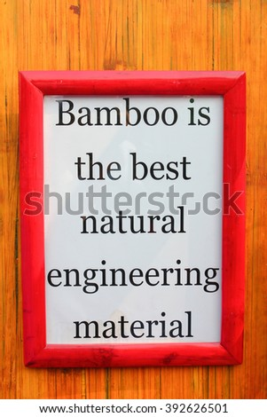 White Frame with bamboo importance quote on stripe background  - stock photo