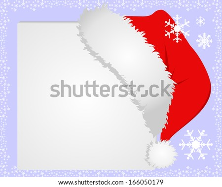 White Frame with Santa's hat, where you can place your information. Raster version. - stock photo