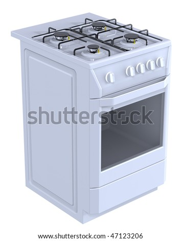 White free standing cooker. Computer generated 3D photo rendering. - stock photo