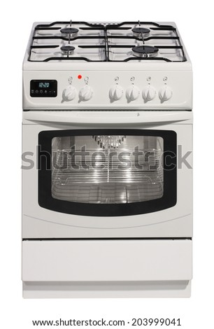 White free standing cooker isolated over white - stock photo