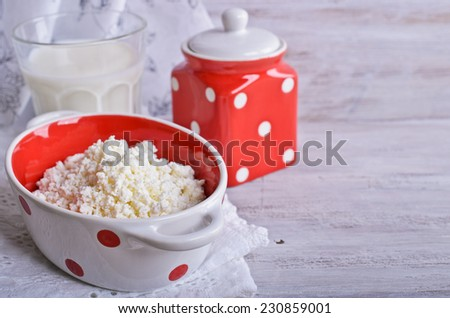 White fresh curd cheese homemade rustic style - stock photo
