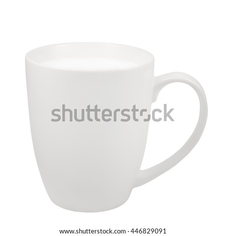 White Fresh Milk Mug, China Porcelain Cup, Large Detailed Isolated Macro Closeup, Vertical Studio Shot, Healthy Food Lifestyle Hot Drink Concept, Calcium, Vitamins And Proteins Source Metaphor - stock photo