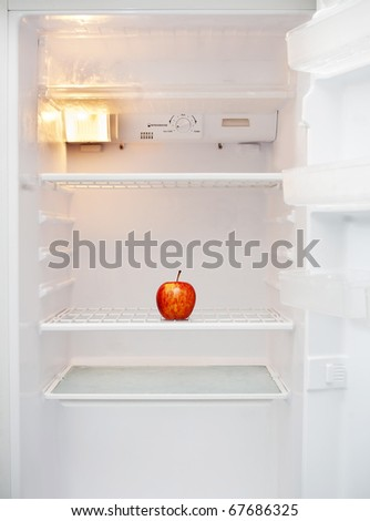 White fridge with only a single apple inside it