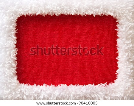 White fur New Year frame with red empty space (looks like a Santa outfit) - stock photo