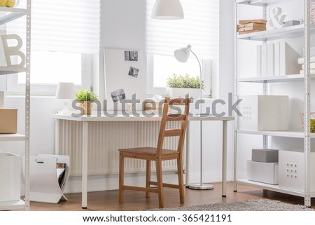 white furniture and wooden chair minimalist teen room