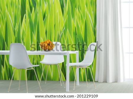 white furniture at the green kitchen - stock photo
