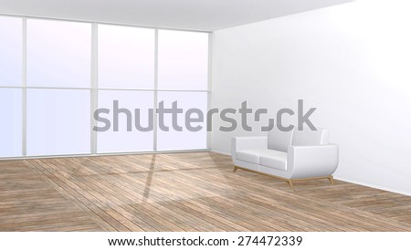 White furniture on wooden floor in living room with big window - 3D rendered interior with copy space. - stock photo