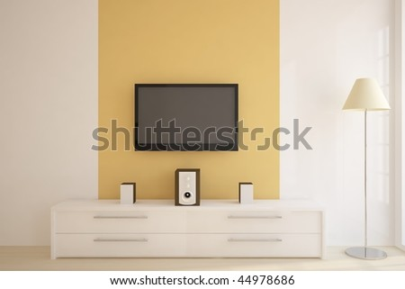 white furniture with tv - stock photo