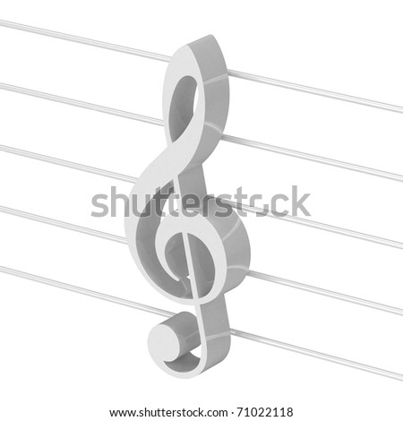 white g clef on stave - stock photo