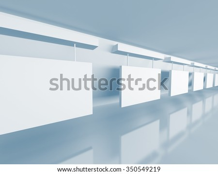 White Gallery Room Interior Background. 3d Render Illustration