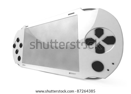 white game console on white background - stock photo