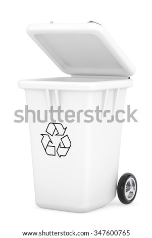 White Garbage Trash Bin on a white background