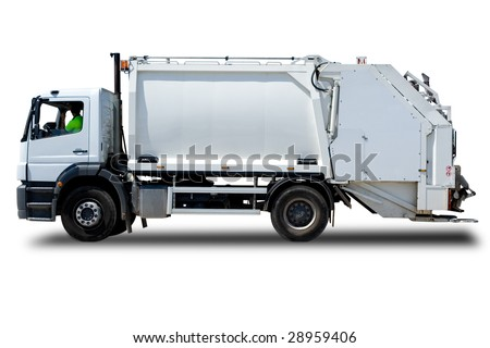 White Garbage Truck Isolated with a Driver - stock photo