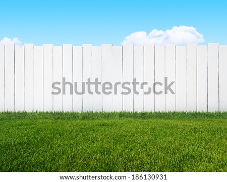 white garden fence - stock photo