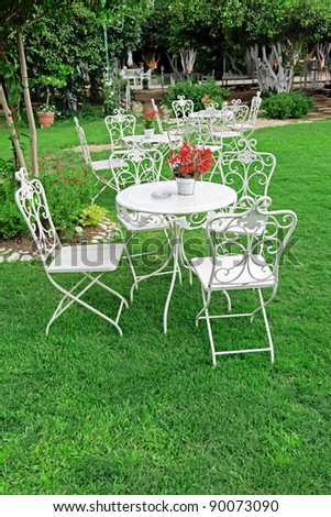 white garden furniture in beautiful garden vintage garden outdoor
