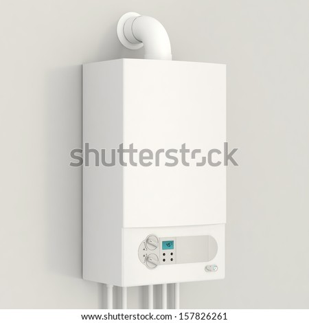 White gas boiler. - stock photo