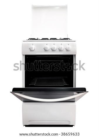 white gas cooker with ipen stove over the white background - stock photo