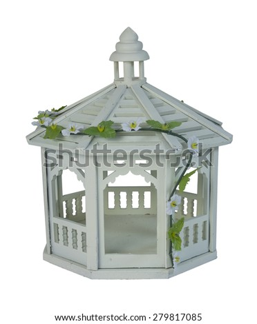 White Gazebo with a vine of flowers used for quiet relaxation in a garden - path included - stock photo