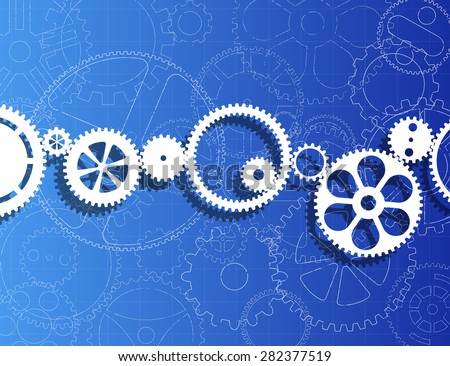 White gears against gear wheels blueprint background  - stock photo