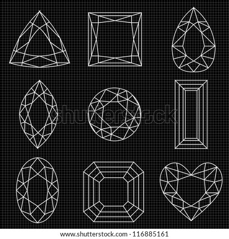 White Gemstone Outlines on Graph Paper. Vector also available, see my portfolio