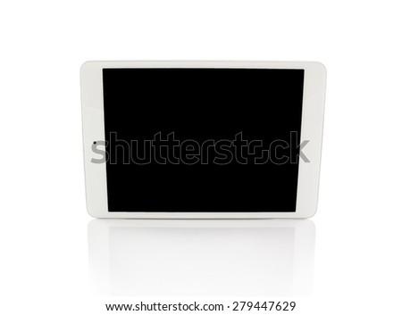 White generic tablet computer (tablet pc) on white background. Modern portable touch pad device with black screen. - stock photo