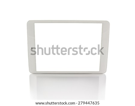 White generic tablet computer (tablet pc) on white background. Modern portable touch pad device with white screen. - stock photo
