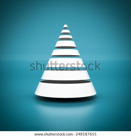white geometric figure on a blue background