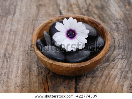 White gerbera flower and stones in bowl on old wood - stock photo