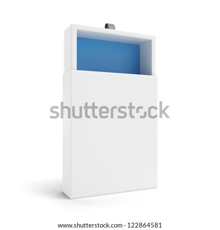 White gift box isolated on a white background - stock photo