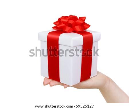 white gift box on hand - stock photo