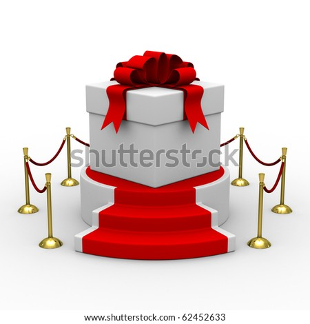 white gift box on podium. Isolated 3D image - stock photo