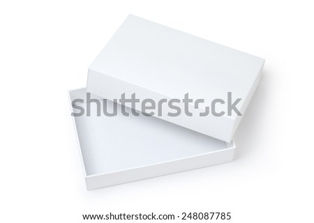 white gift box on white background - stock photo