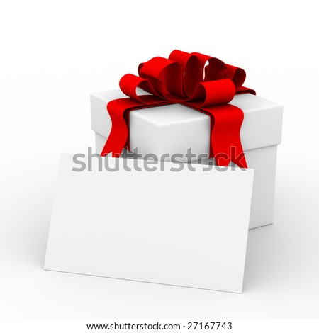 White gift box with a card. 3D image - stock photo