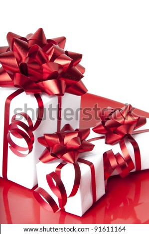 white gift box with a red background