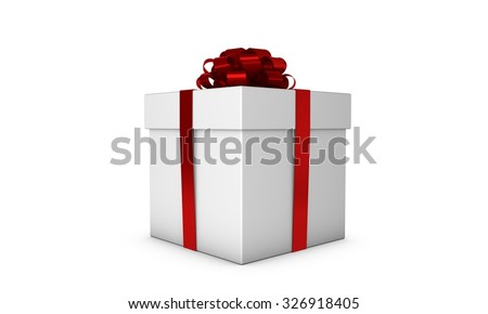 White gift box with a red ribbon and bow - stock photo