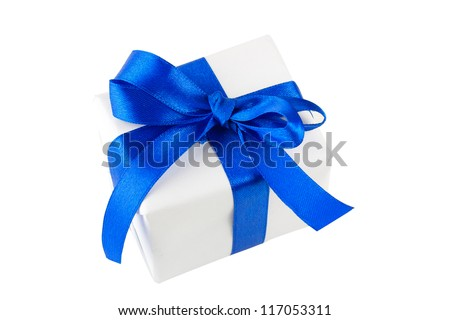 White gift box with blue ribbon - stock photo