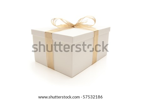 White Gift Box with Gold Ribbon and Bow Isolated on a White Background. - stock photo