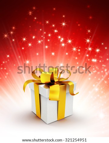 White gift box with gold ribbon on a shiny red background with starlight explosion