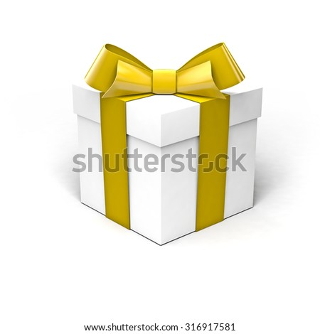 White gift box with golden yellow ribbon, soft shadow, isolated on clean white background - stock photo