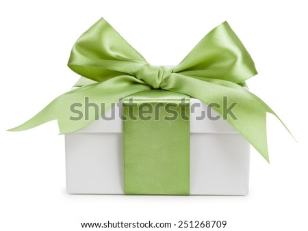 White gift box with green bow isolated - stock photo