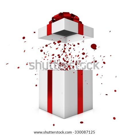 White gift box with red bow and ribbon - stock photo