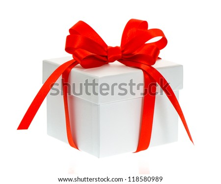 white gift box with red bow ribbon on white background