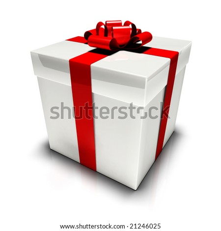 White gift box with red bow. You can change the ribbon and bow color with the hue/saturation control in PS in one mouse click! - stock photo