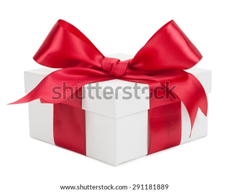 White gift box with red ribbon and bow isolated on a white background. - stock photo