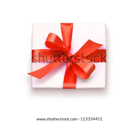 White gift box with red ribbon and bow, isolated on white background