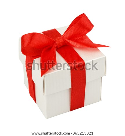 white gift box with red ribbon and bow isolated on white top view